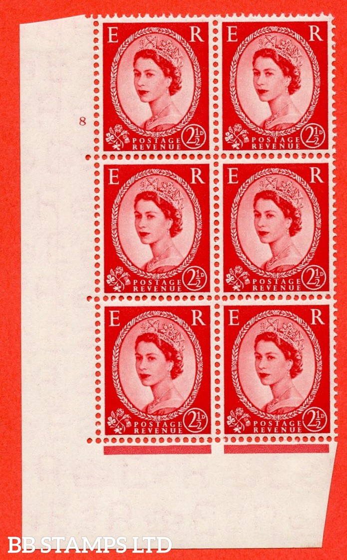 "SG. 519. S50b.2½d Carmine Red. A fine lightly mounted mint "" cylinder 8 no dot "" control block of 6 with perf type A E/I with the listed variety "" Broken Value Circle Row 20/2 """