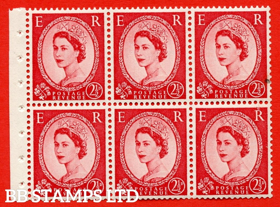 SG. 519 b. SB80. 2½d carmine - red. A fine UNMOUNTED MINT. Complete booklet pane of 6. Perf type (Iet) with Good PERFS.