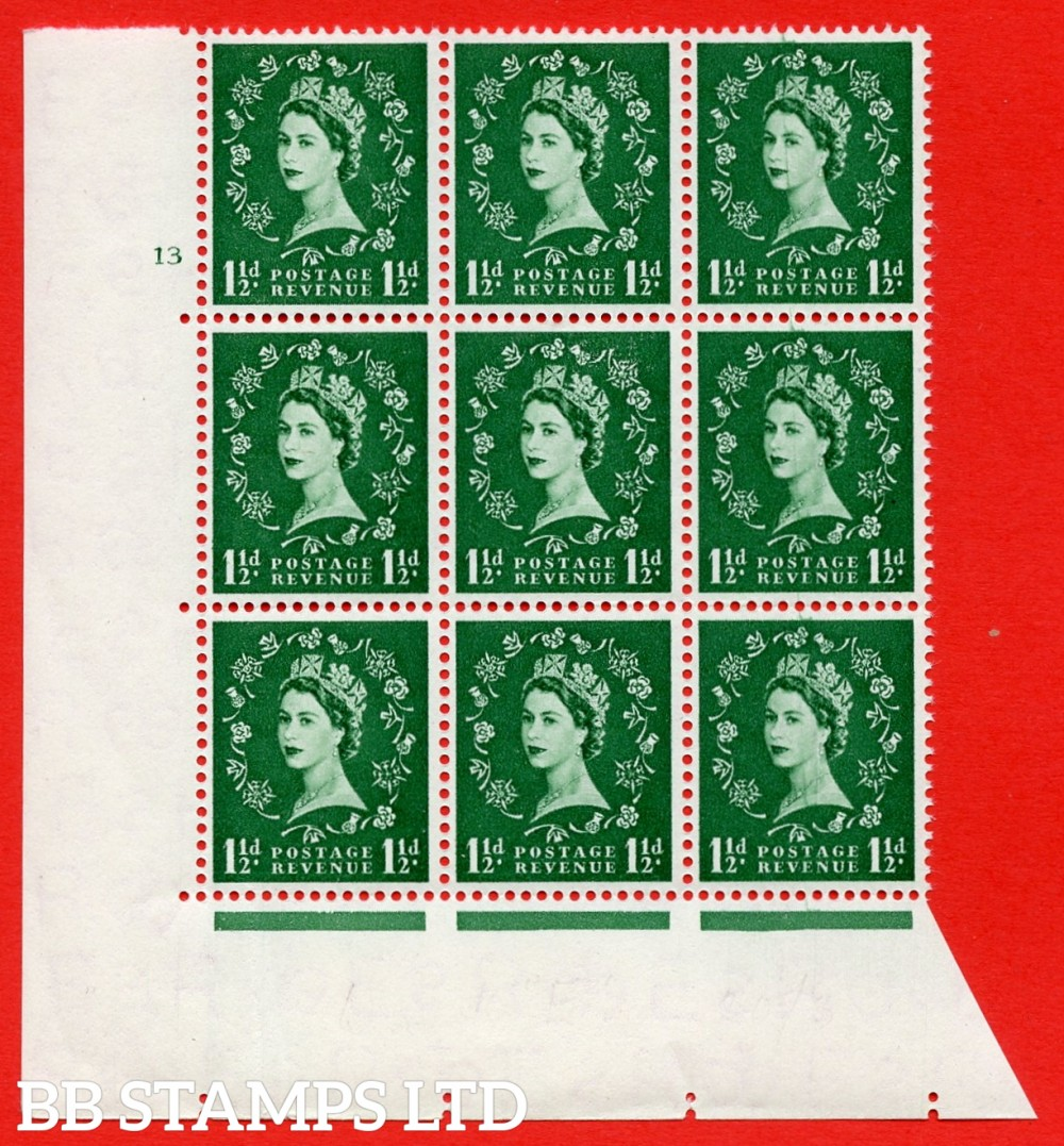 SG. 542. S26f. 1½d. Green. A superb UNMOUNTED MINT example from cylinder 13 No dot block of 9. Variety Scratch on neck R.20/3