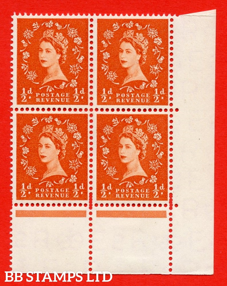 SG. 540. S2f. ½d. Orange-red. A superb UNMOUNTED MINT example from cylinder 2 dot  Positienal block of 9. Variety Rose Flaw (Cyl. 2 Dot, R.19/12)