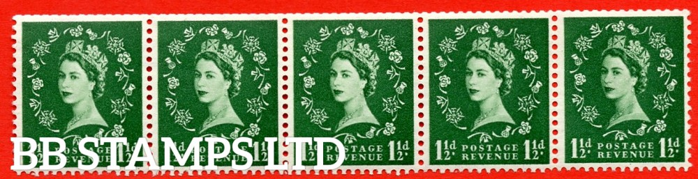 "SG. 542a. S26Q. 1½d. Green. A superb MOUNTED MINT example. coil strip of 5. WATERMARK sideways left. With a flaw over ""O"" of ""POSTAGE"". ERROR. Roll 2 variety."