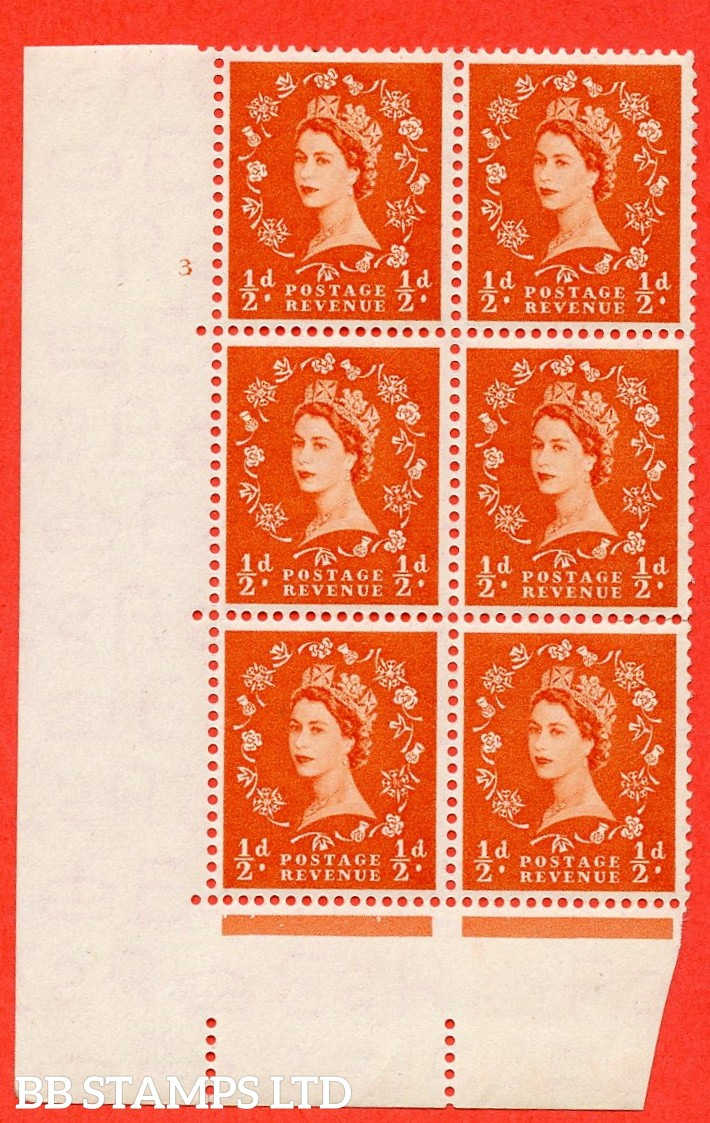 "SG. 515. S1. ½d Orange-Red. A superb UNMOUNTED MINT. "" cylinder 3 no dot "" control block of 6 with perf type A E/I."