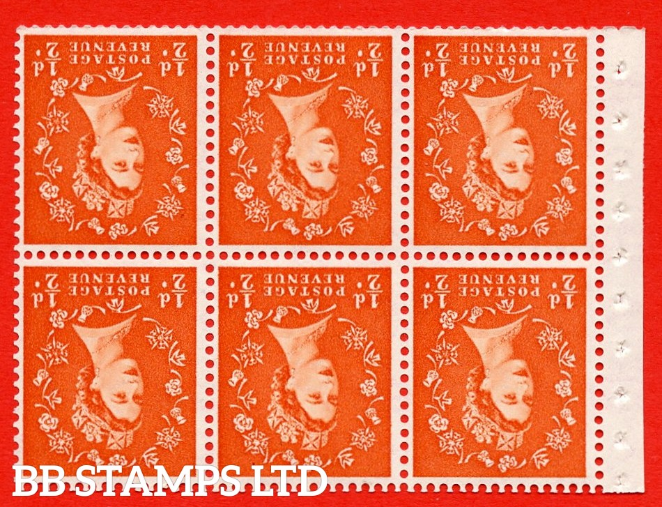 SG. 515Wi. SB1a. ½d orange - red. A fine UNMOUNTED MINTexample. INVERTED WATERMARK. Complete Booklet pane of 6. Perf Type Ieb. Trimmed perfs.