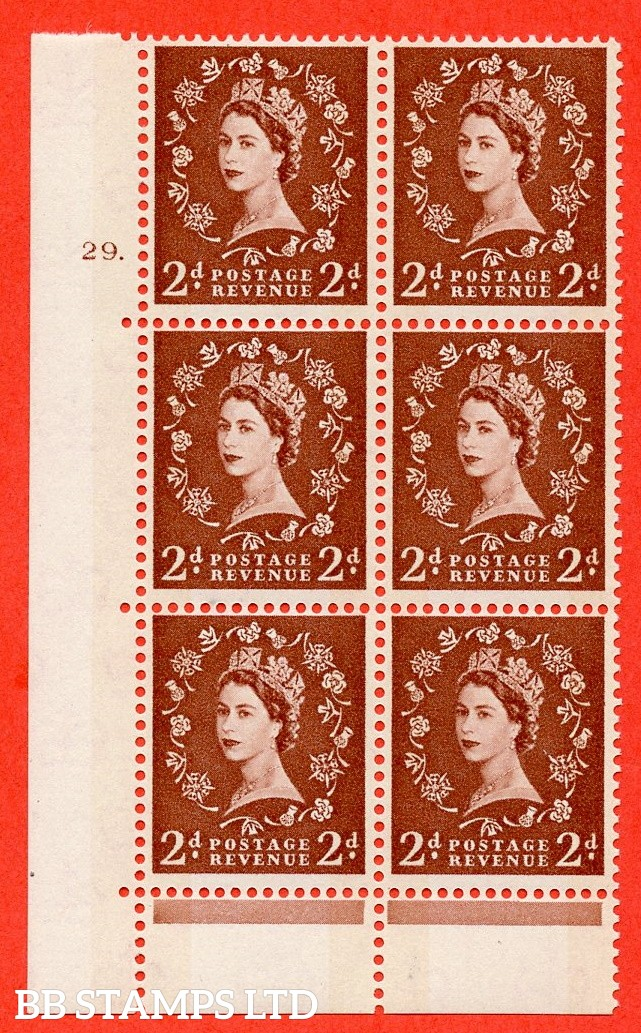 "SG.613a. S46d. 2d Light red brown. Photo. A fine mounted mint "" cylinder 29 dot "" control block of 6 with perf type C (E/P). Blue Phosphor Cream paper."