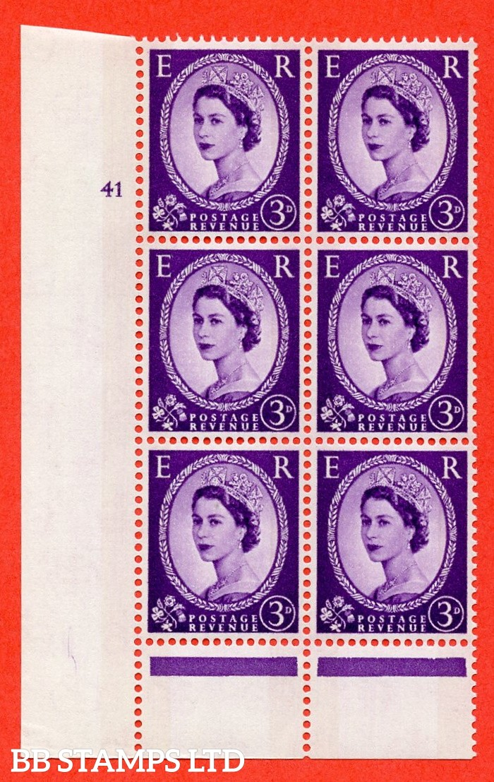 "SG. 615. S74. 3d Deep lilac. A fine mounted mint "" cylinder 41 no dot "" control block of 6 with perf type B (I/P). Green Phosphor."