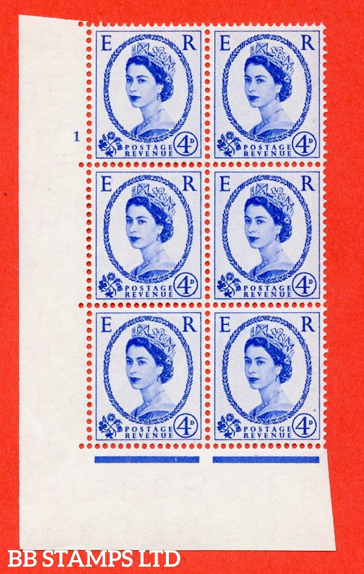 "SG. 546. S82. 4d. Ultramarine. A superb UNMOUNTED MINT "" cylinder 1 no dot "" control block of 6 with perf type A E/I."