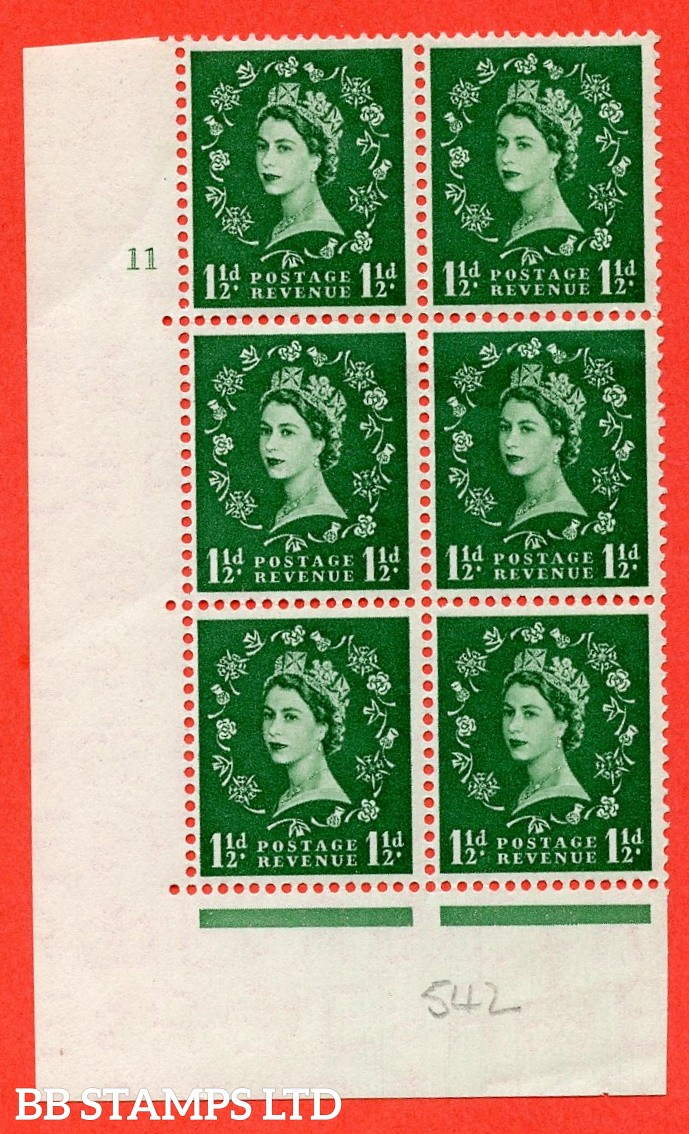 """SG. 542. S26. 1½d. Green. A superb UNMOUNTED MINT """" cylinder 11 no dot """" control block of 6 with perf type A E/I"""