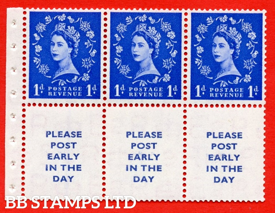 SG. 516La. SB24A. 1d ultramarine Modified setting. A fine UNMOUNTED MINT. Complete booklet pane of 6. Perf type (IS) with Good PERFS.