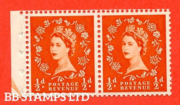 SG. 515. SB3. ½d Orange-Red. A fine UNMOUNTED MINT. Complete booklet pane of 2 with perf type E½v Bottom. Good perfs.