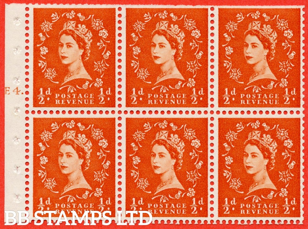 "SG. 570. SB7. ½d orange - red. A fine mounted mint cylinder "" E4 T dot "" booklet pane of 6. Perf type (Iet) with TRIMMED PERFS. Smooth edge."