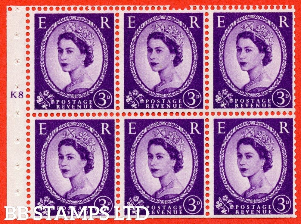 "SG. 545. SB90. 3d Deep Lilac. A fine UNMOUNTED MINT cylinder "" K8 T  dot "" booklet pane of 6. Perf type (Iet) with TRIMMED PERFS. Smooth edge."