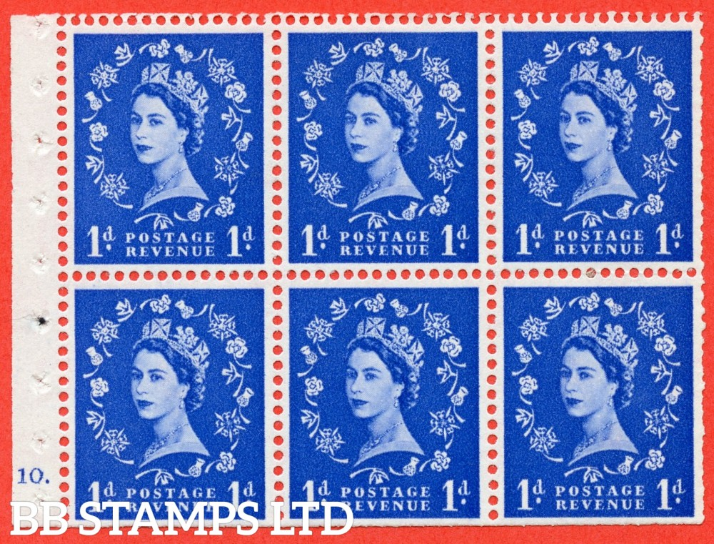 "SG. 571. SB31. 1d Ultramarine. A fine mounted mint cylinder "" F10 dot "" booklet pane of 6. Perf type (Ieb) with TRIMMED PERFS. Smooth edge White paper."