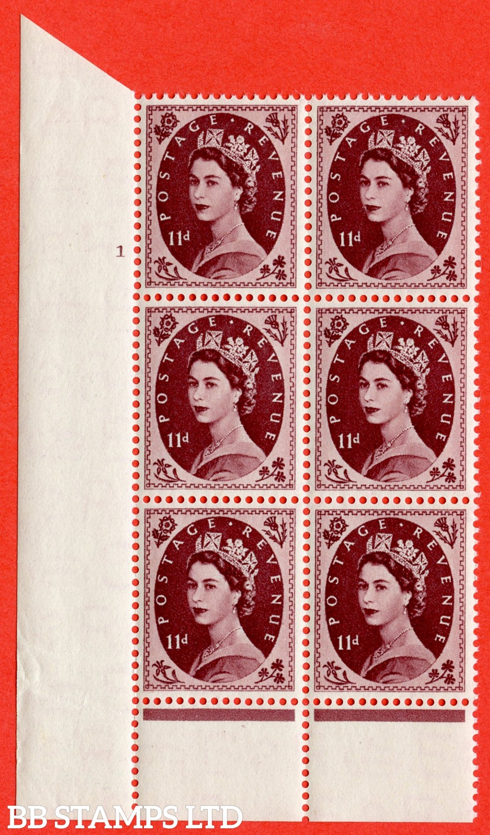 "SG. 528. S134. 11d Brown-purple. A superb UNMOUNTED MINT "" cylinder 1 dot "" control block of 6 with perf type B I/P."