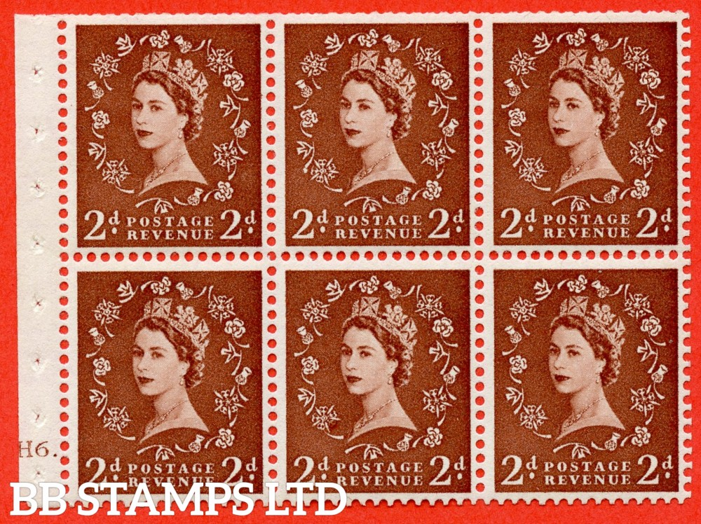 "SG. 543b. SB78g. 2d Light red-brown. A fine UNMOUNTED MINTcylinder "" H6 dot "" booklet pane of 6. Perf type (Ieb) with TRIMMED PERFS. Smooth edge. Listed variety "" Daffodil stem flaw ""."