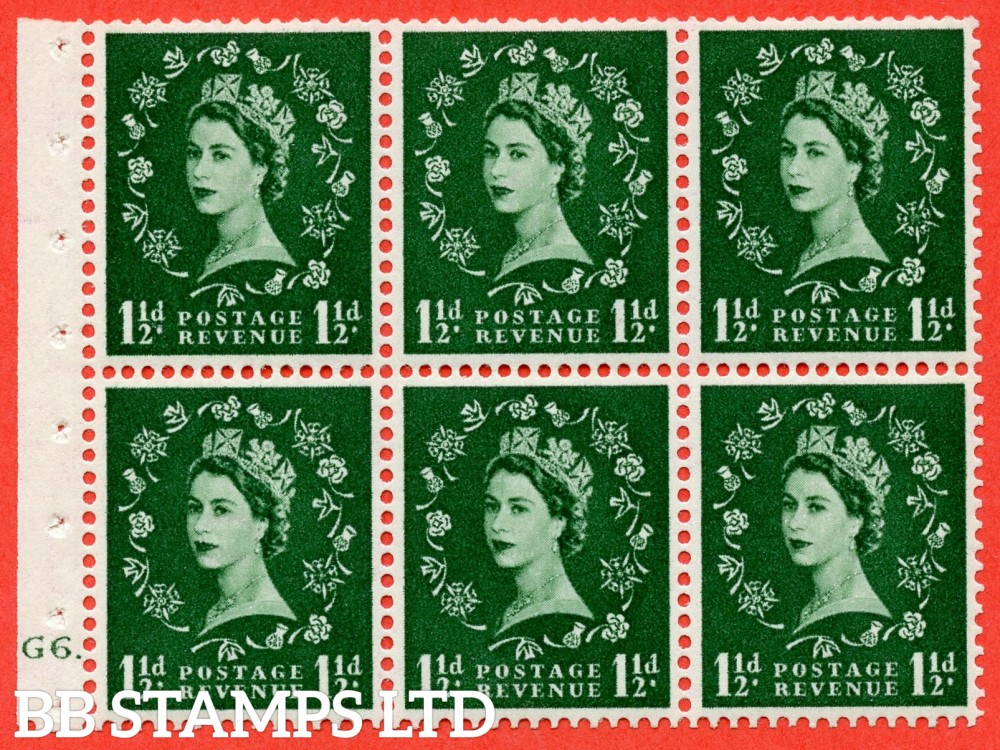 "SG. 517. SB59. 1½d green. A fine UNMOUNTED MINT cylinder "" G6 dot "" booklet pane of 6. Perf type (Ieb) with GOOD PERFS. Smooth edge."