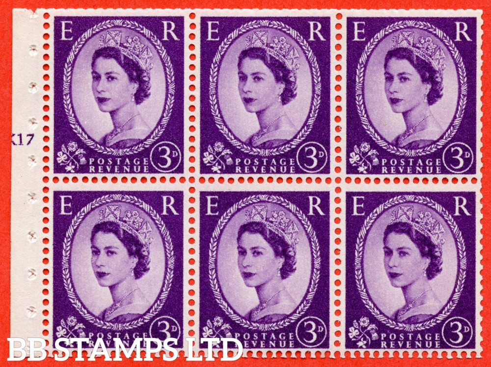 "SG. 575. SB92. 3d Deep Lilac. A fine UNMOUNTED MINT cylinder "" K17 T no dot "" booklet pane of 6. Perf type (I) with TRIMMED PERFS. Smooth edge. Cream paper."