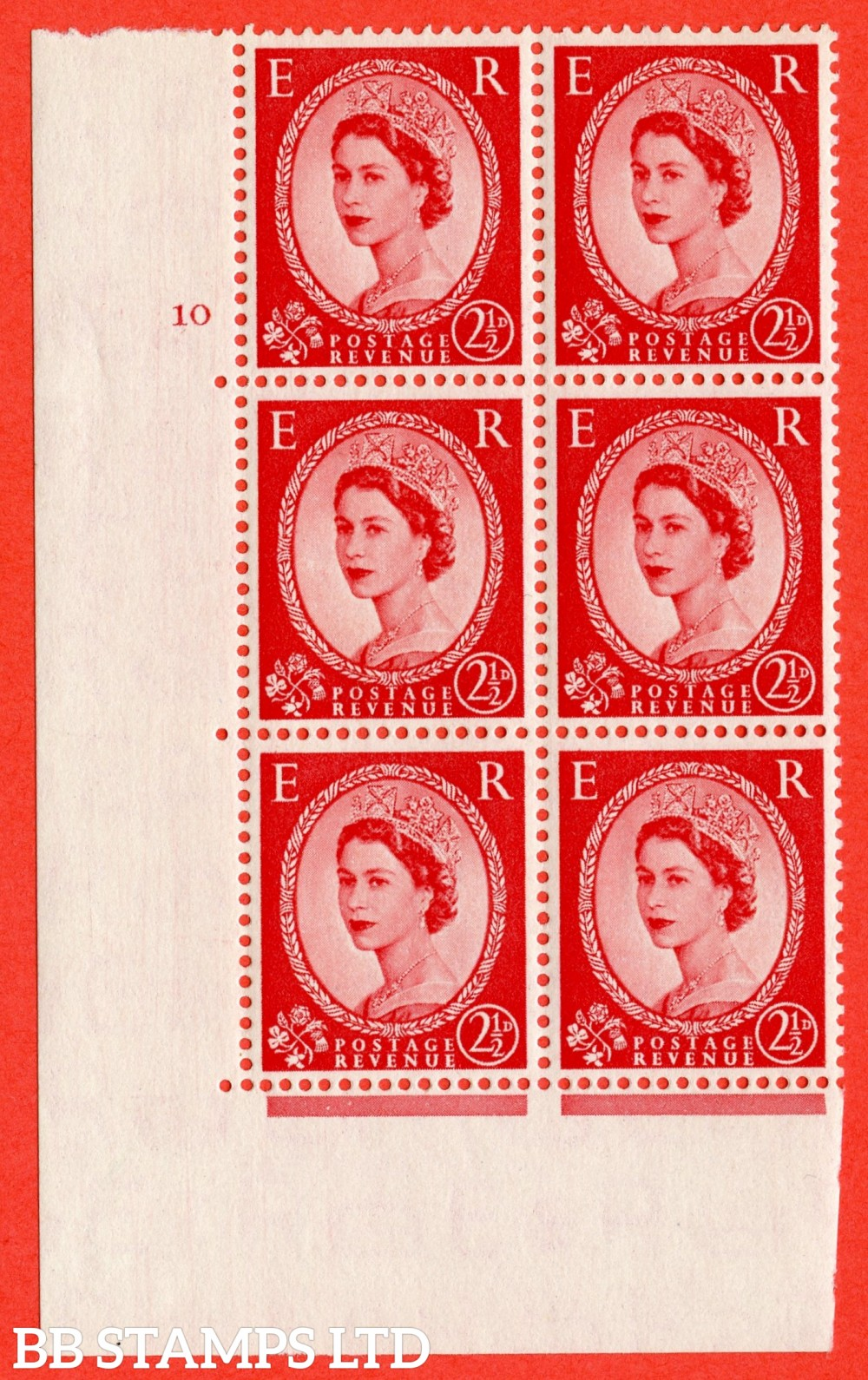 "SG. 519. S50. 2½d Carmine Red. A superb UNMOUNTED MINT "" cylinder 10 no dot "" control block of 6 with perf type A E/I."
