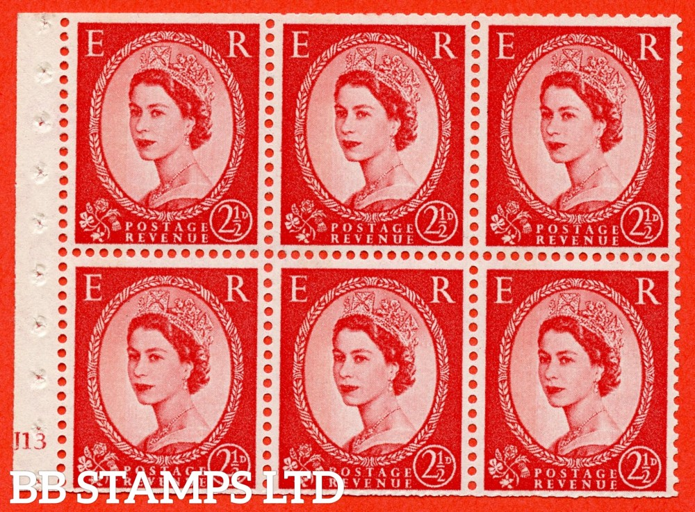 "SG. 614. SB88. 2½d Carmine Red Type II. A fine UNMOUNTED MINT cylinder "" J13 no dot "" booklet pane of 6. Perf type (I) with TRIMMED PERFS. Smooth edge. Cream Paper."