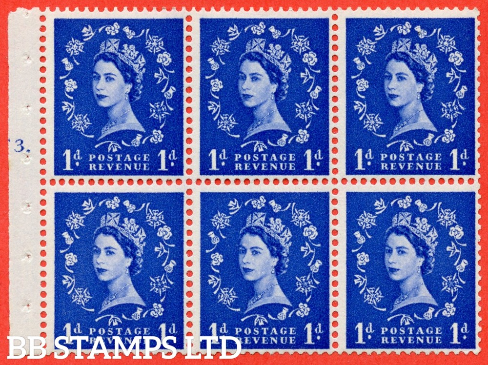 "SG. 541. SB26. 1d ultramarine. A fine mounted mint cylinder "" F3 T dot "" booklet pane of 6. Perf type (Iet) with TRIMMED PERFS. Smooth edge."