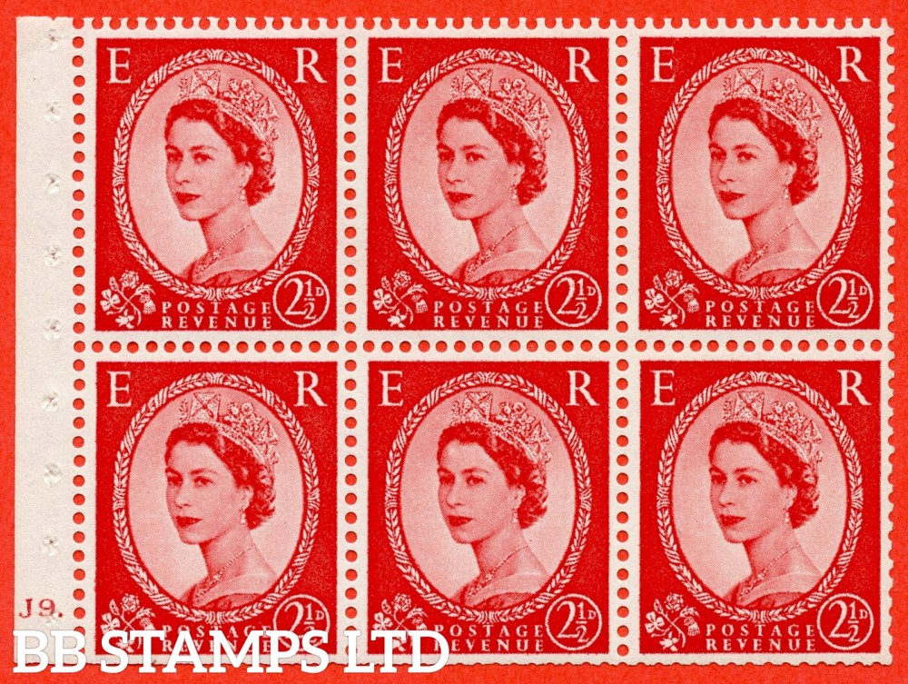 "SG. 544b. SB81. 2½d carmine - red. A fine mounted mint "" J9 dot "" booklet pane of 6. Perf type (Ieb) with TRIMMED PERFS. Smooth edge."
