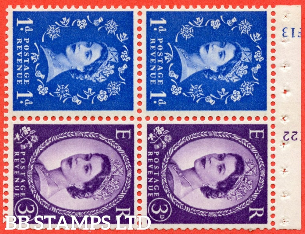 "SG. 611 / 615 . SB50. 1d Ultramarine & 3d Deep Lilac. A fine UNMOUNTED MINT cylinder "" F13 / K22 ( 8mm ) no dot "" booklet pane of 4. Perf type (I) with GOOD PERFS. Smooth edge. White Paper."