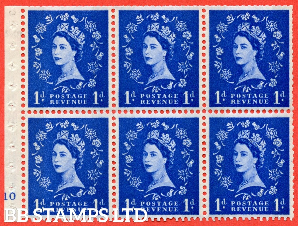"SG. 611. SB54. 1d Ultramarine. A fine mounted mint cylinder "" F10 no dot "" booklet pane of 6. Perf type (I) with TRIMMED PERFS. Smooth edge."