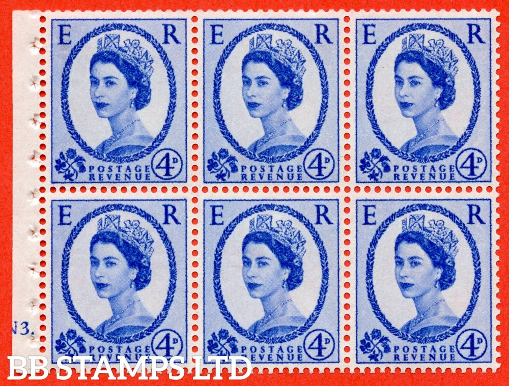 "SG. 576a. SB105. 4d Deep Ultramarine. A fine UNMOUNTED MINT cylinder "" N3 dot "" booklet pane of 6. Perf type (Ieb) with GOOD PERFS. Smooth edge."