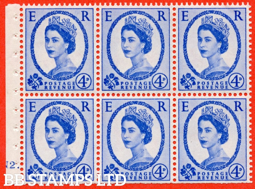 "SG. 576a. SB105. 4d Deep Ultramarine. A fine UNMOUNTED MINT cylinder "" N2 dot "" booklet pane of 6. Perf type (Iet) with TRIMMED PERFS. Smooth edge. White paper."