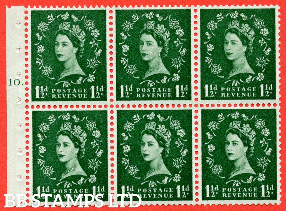 "SG. 542. SB62. 1½d green. A fine UNMOUNTED MINT cylinder "" G10 T dot "" booklet pane of 6. Perf type (Iet) with GOOD PERFS. Smooth edge."