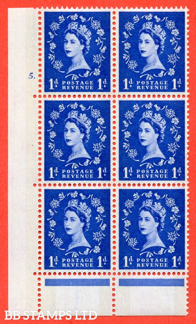 """SG. 611. S20. 1d Ultramarine. A fine mounted mint """" cylinder 5  dot """" control block of 6 with perf type C (E/P). Green Phosphor."""