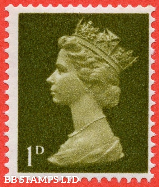 "SG. 724 d. 1d light olive. "" UNCOATED PAPER "". A super UNMOUNTED MINT example of this scarce QEII variety."