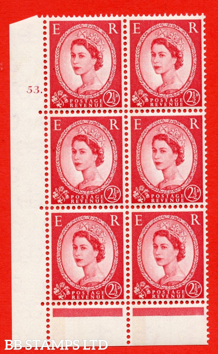 "SG.614a. S63a. 2½d Carmine red. Photo. A superb UNMOUNTED MINT "" cylinder 53 dot "" control block of 6 with perf type C (E/P). Blue Phosphor Cream paper."