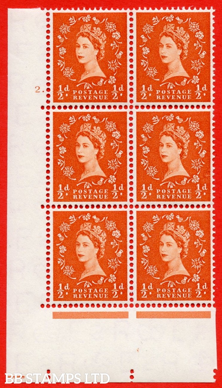 "SG. 540. S2e. ½d. Orange-red. A superb UNMOUNTED MINT "" cylinder 2 dot "" control block of 6 with perf type A E/I with listed variety "" Major retouch "" Row 19/2."
