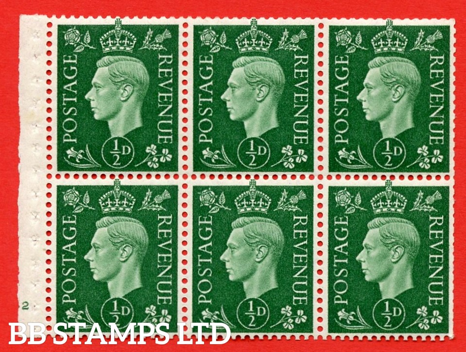 SG. QB1 Perf Type B3(I). ½d Green x 6 Pane, MOUNTED MINT Watermark Upright. Cylinder Pane E42 no dot ( SG. 462b ) Perf Type B3(I). Trimmed Perfs.