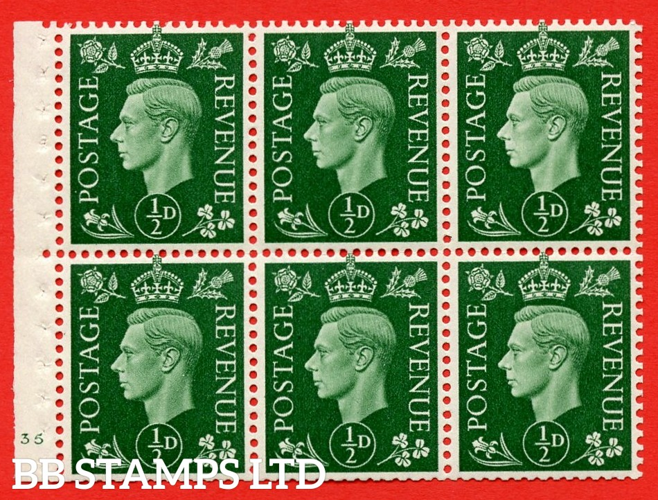 SG. QB1 Perf Type B4(E). ½d Green x 6 Pane, UNMOUNTED MINT Watermark Upright. Cylinder Pane E35 no dot ( SG. 462b ) Perf Type B4(E). Good Perfs.