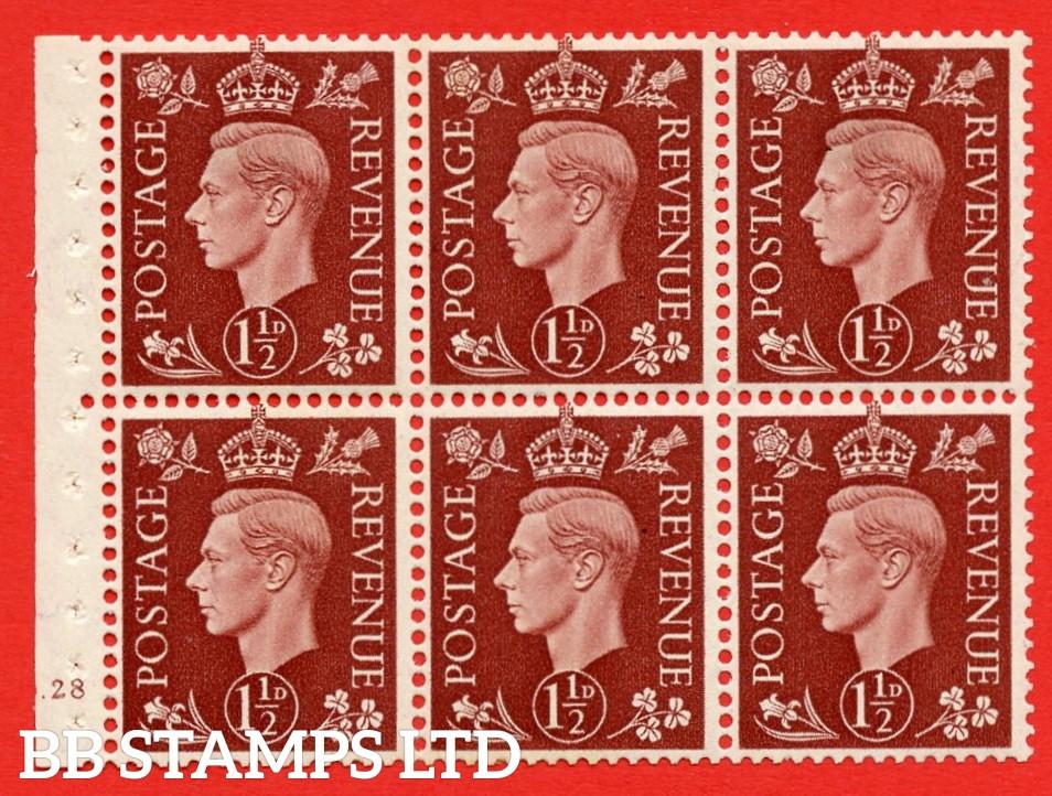 QB21 Perf Type B4(E) 1½d Red-Brown x 6 Pane, MOUNTED MINT Watermark Upright. Cylinder Pane G28 no dot ( SG. 464c ) Perf type B4(E). Good Perfs.