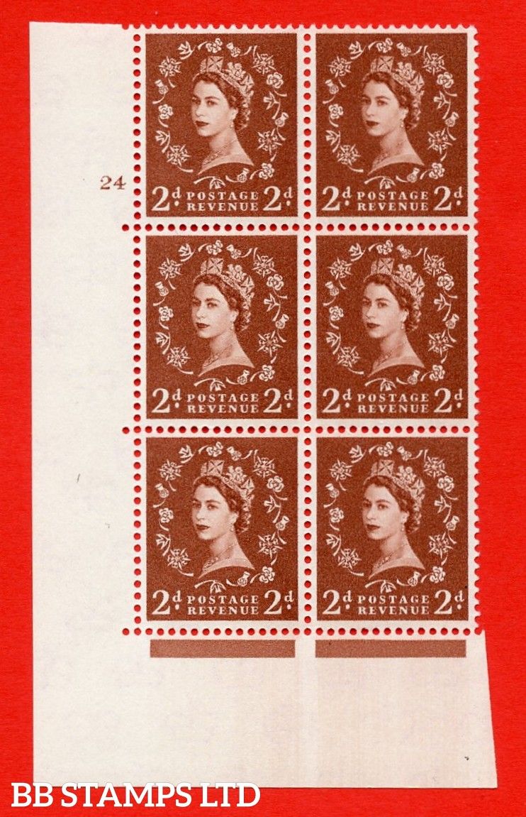 "SG. 573. S40. 2d light red brown . A superb UNMOUNTED MINT "" cylinder 24 no dot "" control block of 6 with perf type A E/I. CREAM paper."