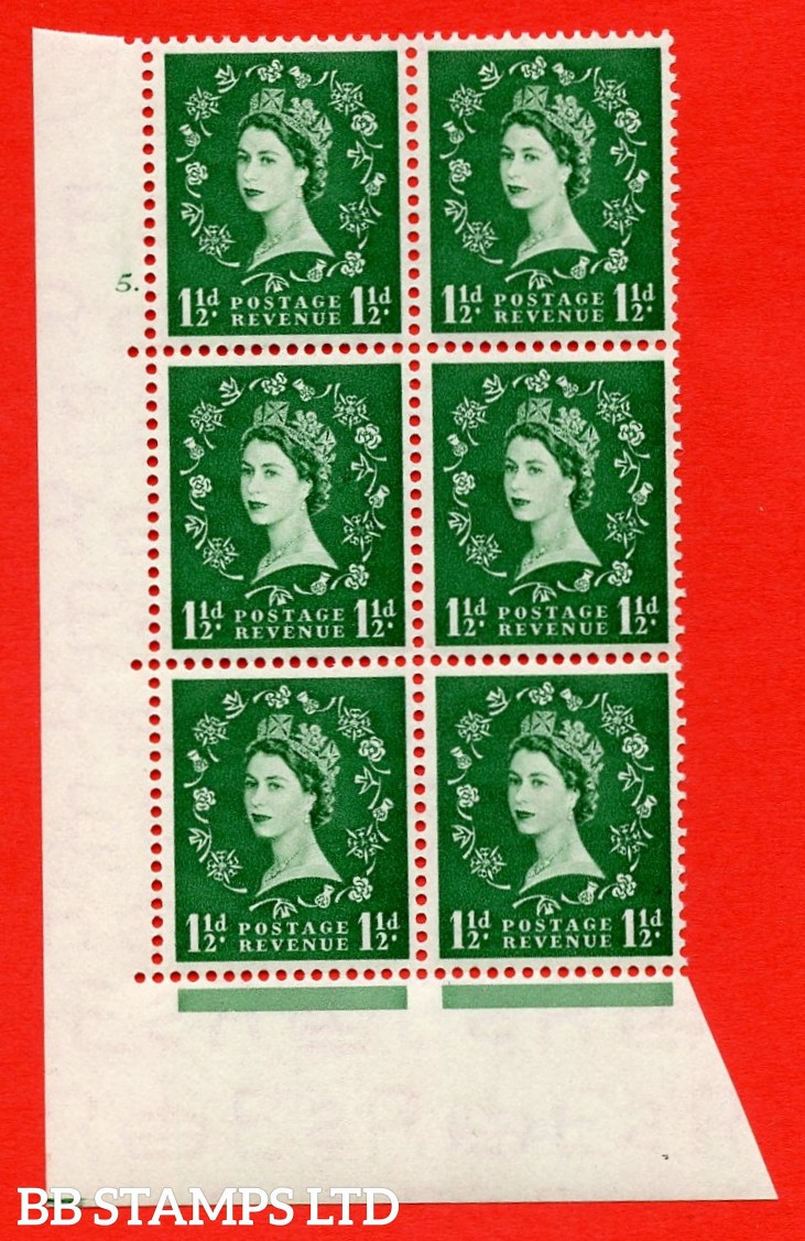 "SG. 517. S25. 1½d Green. A superb UNMOUNTED MINT "" cylinder 5 dot "" control block of 6 with perf type A E/I."