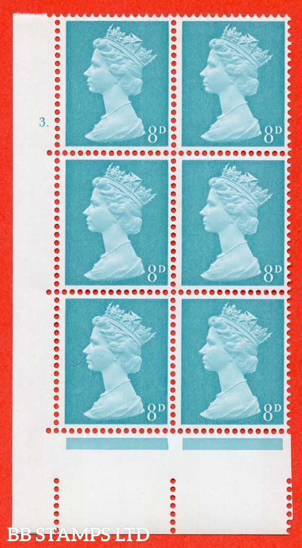 "SG. 739. U21. 8d light turquoise blue  A superb UNMOUNTED MINT "" cylinder 3 dot "" control block of 6 with perf type A E/I. PVA gum. Head A"
