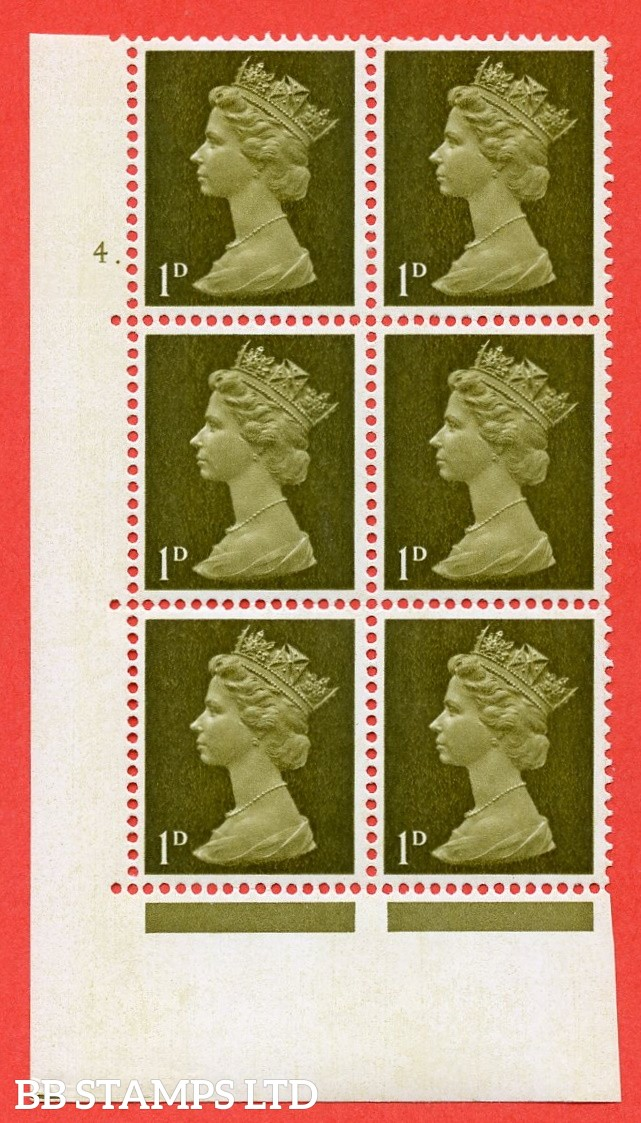 "SG. 724. U2 (2) . 1d yellowish olive A superb UNMOUNTED MINT "" cylinder 4 dot "" control block of 6 with perf type A E/I. PVA gum. Head B"