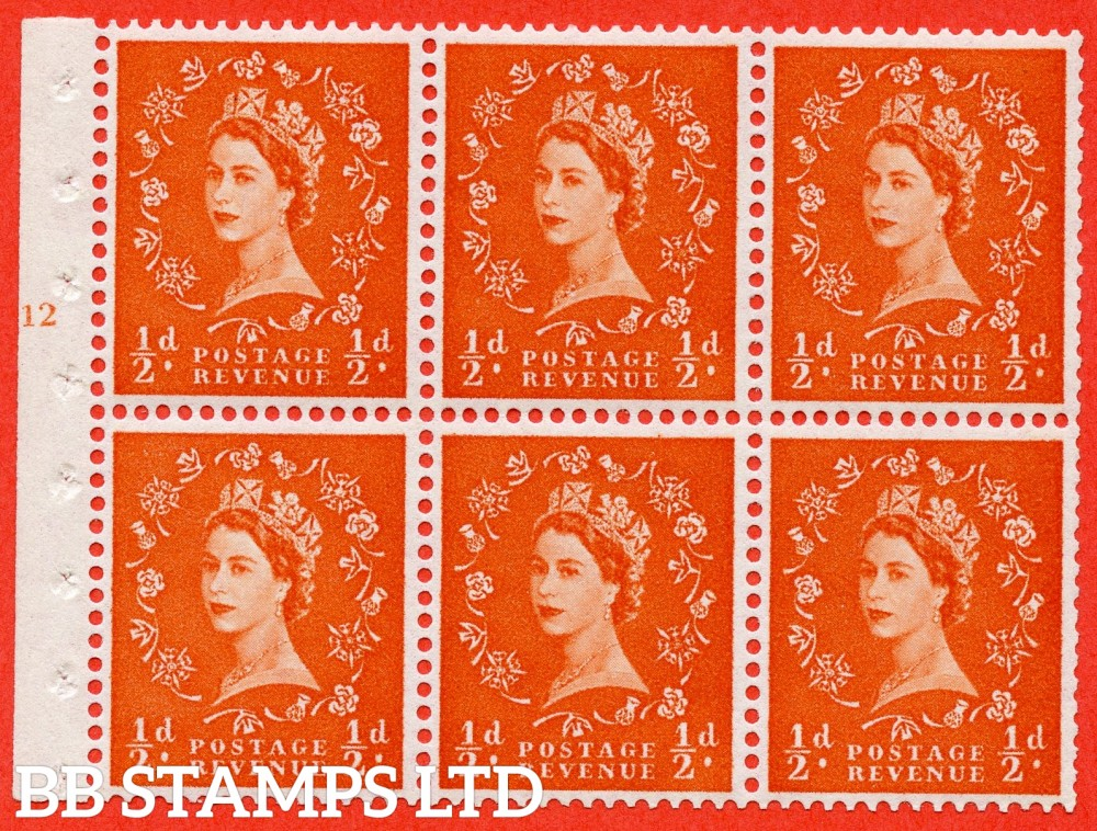 "SG. 570. SB8. ½d orange - red. A fine UNMOUNTED MINT cylinder "" E12 T no dot "" booklet pane of 6. Perf type (Ieb) with GOOD PERFS. Rough edge White paper."