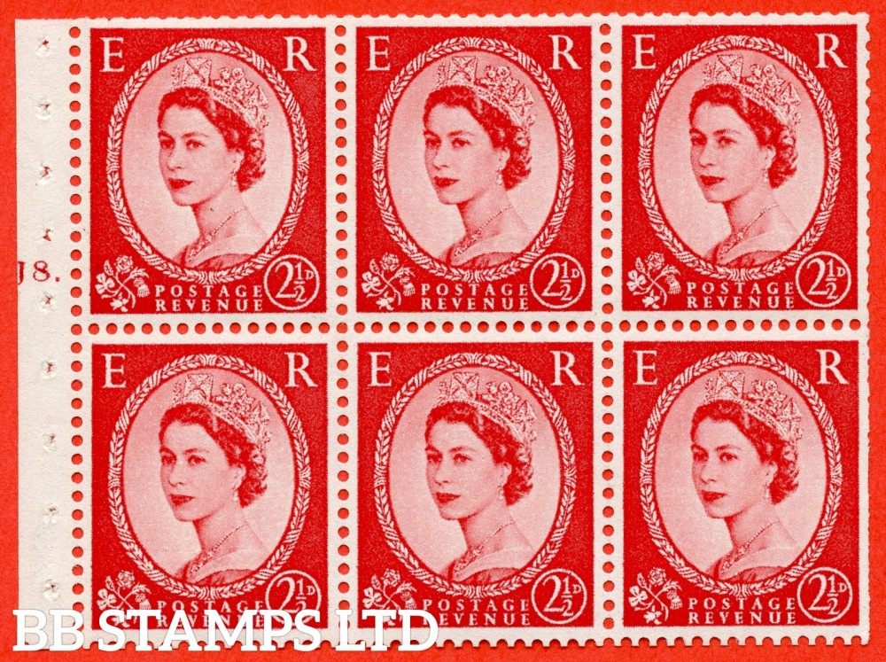 "SG. 544b. SB81. 2½d carmine - red. A fine UNMOUNTED MINT "" J8 T dot "" booklet pane of 6. Perf type (Ieb) with TRIMMED PERFS. Smooth edge."