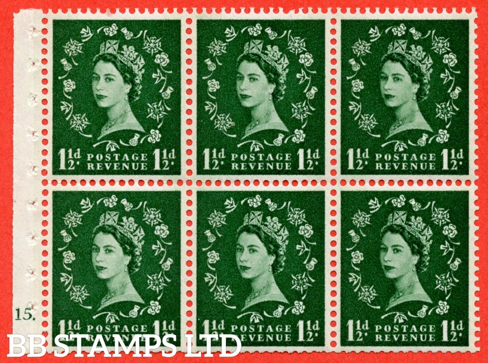 "SG. 612. SB72. 1½d Green. A fine mounted mint cylinder "" G15 dot "" booklet pane of 6. Perf type (Iet) with TRIMMED PERFS. Smooth edge. Cream Paper."