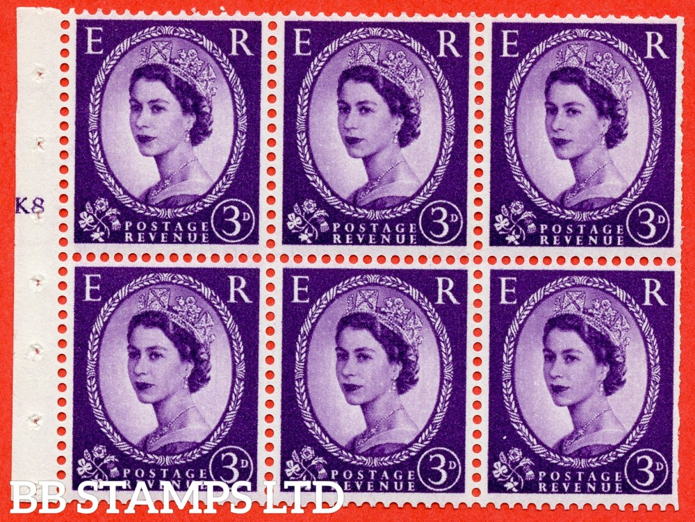 "SG. 545. SB90. 3d Deep Lilac. A fine UNMOUNTED MINT cylinder "" K8 T no dot "" booklet pane of 6. Perf type (I) with TRIMMED PERFS. Smooth edge."