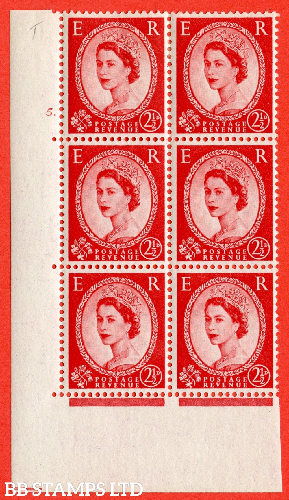 "SG. 519. S50. 2½d Carmine Red. A fine mounted mint "" cylinder 5 dot "" control block of 6 with perf type A E/I."
