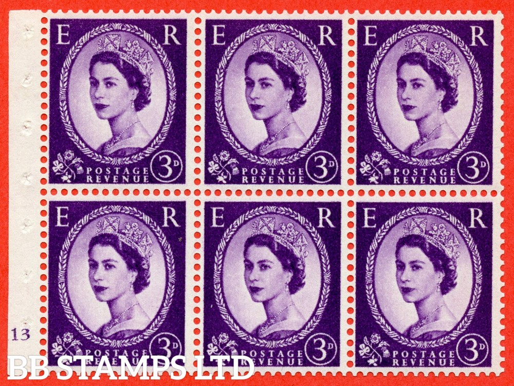 "SG. 575. SB92. 3d Deep Lilac. A fine UNMOUNTED MINT cylinder "" K13 no dot "" booklet pane of 6. Perf type (I) with GOOD PERFS. Smooth edge. Cream paper."