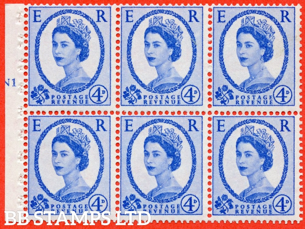 "SG. 576a. SB105. 4d Deep Ultramarine. A fine UNMOUNTD MINT cylinder "" N1 T no dot "" booklet pane of 6. Perf type (I) with GOOD PERFS. Smooth edge. White paper."