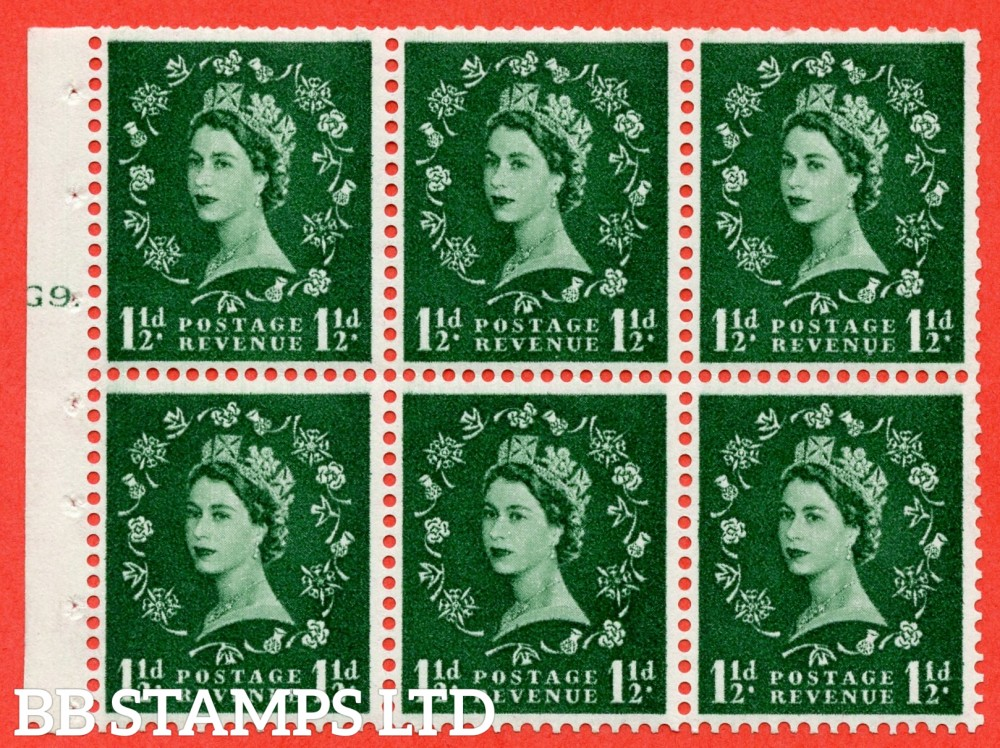 "SG. 542. SB62. 1½d green. A fine UNMOUNTED MINT cylinder "" G9 T dot "" booklet pane of 6. Perf type (Ieb) with TRIMMED PERFS. Smooth edge."