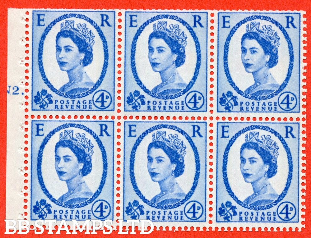"SG. 616a. SB111. 4d Deep Ultramarine. A fine UNMOUNTED MINT cylinder "" N2 T dot "" booklet pane of 6. Perf type (Iet) with TRIMMED PERFS. Smooth edge."