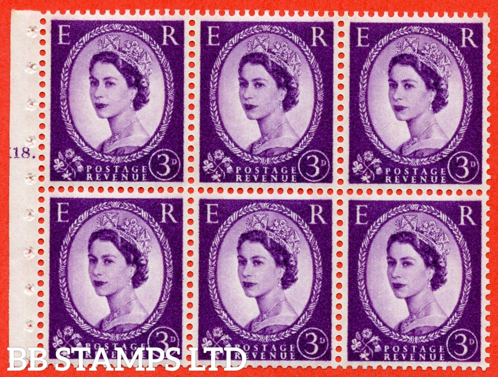 "SG. 615. SB100. 3d Deep Lilac. A fine UNMOUNTED MINT cylinder "" K18 T dot "" booklet pane of 6. Perf type (Ieb) with GOOD PERFS. Smooth edge. White Paper."